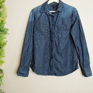 J Crew Keeper Chambray Button Shirt Star Dot L/S 8